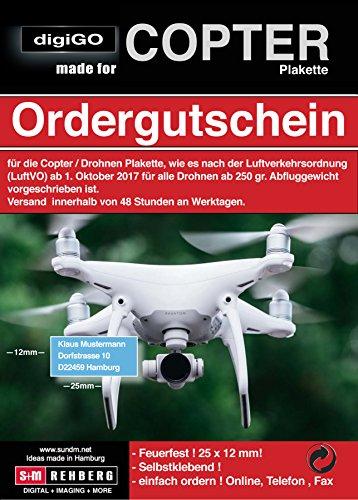 DigiGO Copter/droni targhetta/buono, 25X 12mm