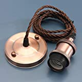 KINGSO Vintage Hanging Pendant Light Kit Modern Retro Industrial Style E27 Base Brass Lamp Holder 2 Meter 3-wire Cord Twisted Fabric Cable Ceiling Rose with VDE certificate Red Antique Copper(NO bulb inculde)