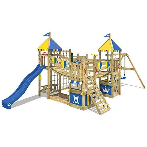 WICKEY Aire de jeux Smart King Portique de jeux en bois avec 2 sièges de balançoire, mur d'escalade, échelle de corde, bac à sable et accessoires, toboggan bleu