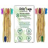 Spazzolino di bambù per adulti e adolescenti |Set di spazzolini da denti biodegradabili da 8 pezzi| Bamboo Moso organico ecologico con manici ergonomici e setole in nylon medio| Di Hello Eco Company