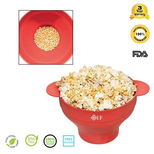 Silicona microondas palomitas de maíz eléctrica, oif plegable palomitas de maiz poppers–Bol con tapa y medición 2minutos Pop maíz microondas cocina gadget-red