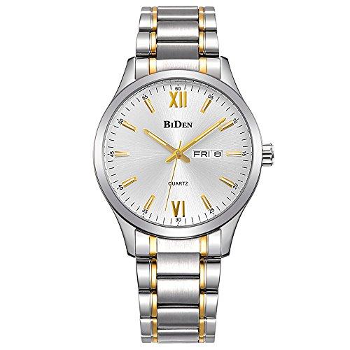 Uhren, Herren Uhren Gold Edelstahl Luxus Fashion Wasserdicht Handgelenk Analog Quarz Armbanduhr
