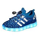 Yeeper LED Zapatillas de 7 Colores de Luces con USB de Carga Transpirables para los Niños y los Adolescentes 1832 Azul EU 27