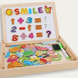 dookey Puzzle Magnetico di Legno, Giocattolo di Legno Bambino Disegno Cavalletto Lavagnette con Doub