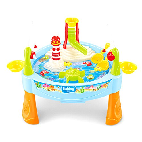 Kingmia Water Play Table Toy Fishing Game Splash Waterpark with Music for Kids Toddlers