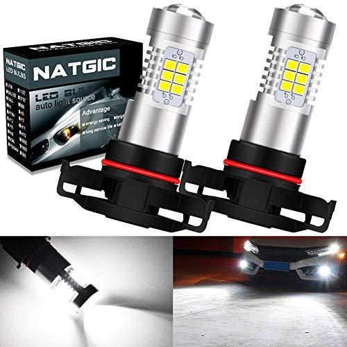 NATGIC PSX24W Lampadine fendinebbia a LED xenon bianco 21 - Chipset SMD EX 2835 con proiettore per...