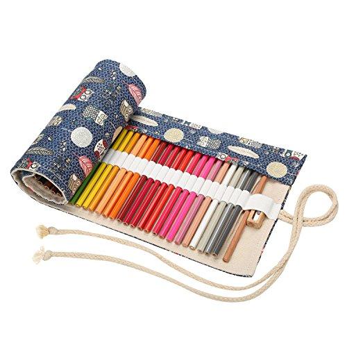 Matita Astuccio Arrotolabile Pencil Wrap Pastelli Sacchetto Roll-up di Canvas Astuccio portapenne di...