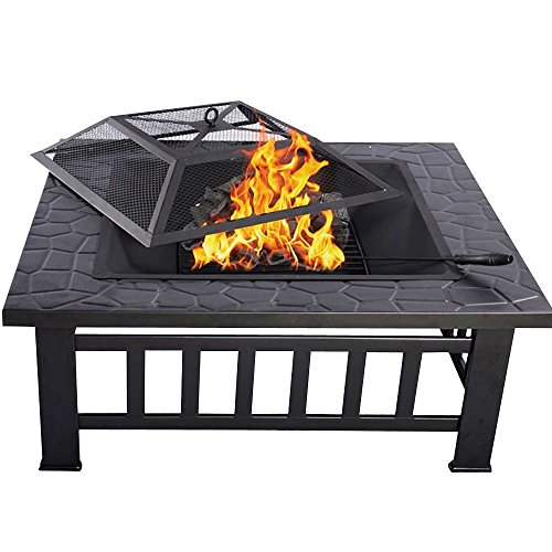 HENGMEI 3 in 1 Fire Pit 81cm Braciere da giardino o terrazzo Barbecue con griglia, cover protettiva