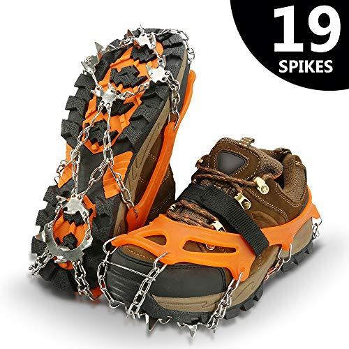 IPSXP Crampones, 19 Dientes Tacos de tracción Nieve y Hielo Tracción para Invierno Deportes Montañismo Escalada Caminar Alpinismo Cámping Acampada Senderismo - XL