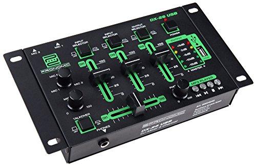Pronomic DX-26 3-Kanal USB DJ-Mixer (eingebauter USB-MP3-Player, 3-Kanäle, Mikrofonanschluss, robust, mit Cinch-Kabel)