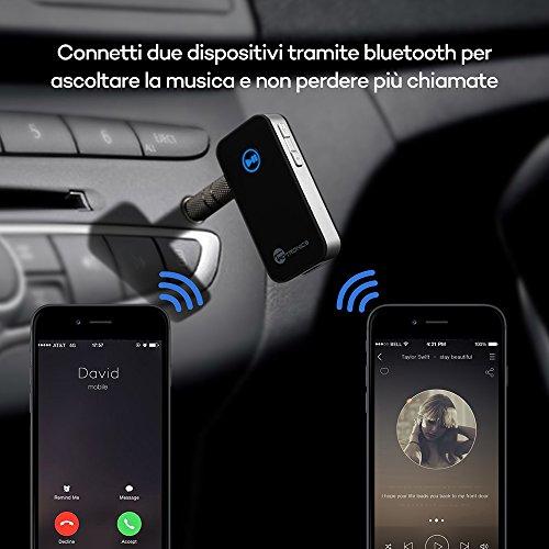TaoTronics Ricevitore Bluetooth A2DP, Adattatore Wireless per Streaming Audio/Kit Bluetooth 4.0 per Auto con Uscita Stereo 3.5 mm e Microfono Incorporato – Argento
