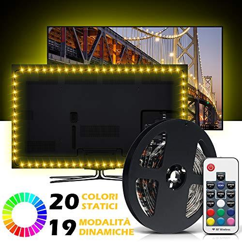 Striscia LED RGB 20 Colori, Mroty Retroilluminazione TV 2,2M Impermeabile, Flessibile, Accorciabile...
