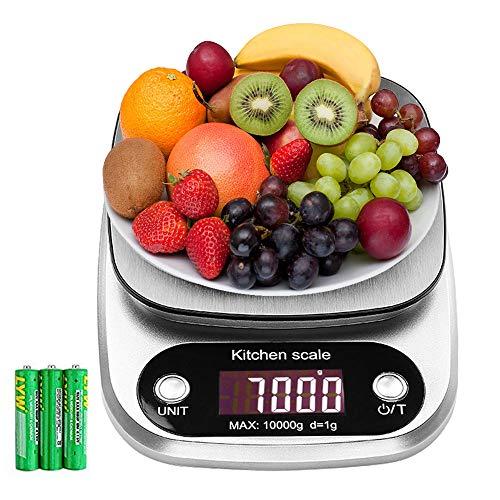 Bilancia da Cucina, 10Kg/1g Bilancia Elettronica Digitale Alta Precisione Misurazione Display LCD...