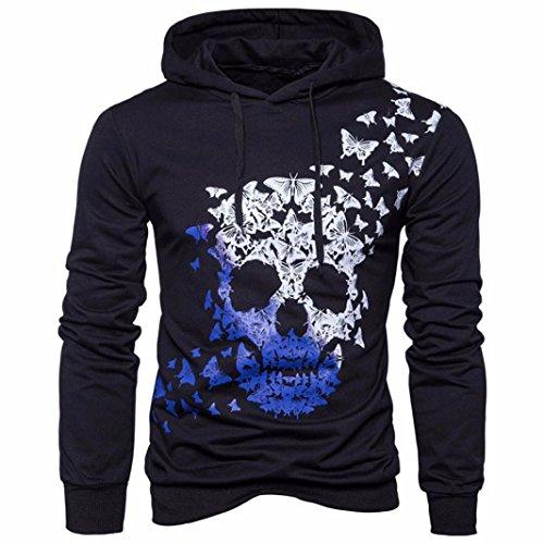 Hombres Otoño Invierno Sudadera con Capucha, Vovotrade Impreso Mariposas Cráneo Doble color Camisetas de manga larga Blusa (L)