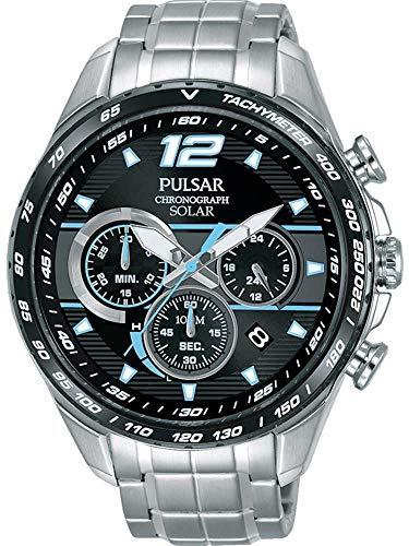 Pulsar Herren Chronograph Solar Uhr mit Edelstahl Armband PZ5031X1