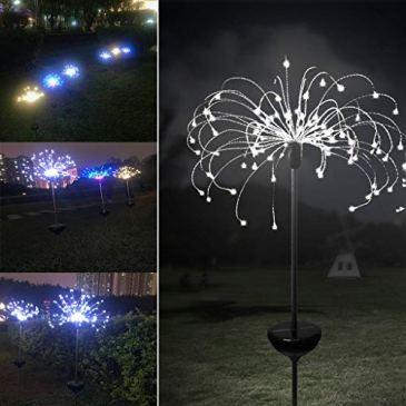 TianranRT Lampe de pelouse extérieure de feu d'artifice LED de lumière de Noël de lumière solaire électrique de jardin de l'électricité 90LED