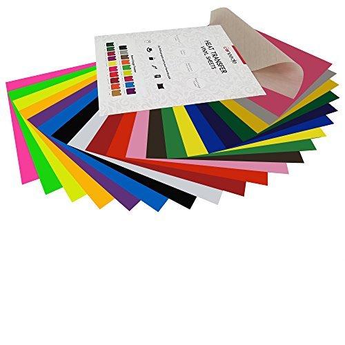 "HTV Heat Transfer Vinyl Bundle: 20 Pack Assorted Colors 12""x10"" Sheets, Iron On Vinyl for Cricut & Silhouette Cameo, Bonus Teflon for Heat Press Machine or Home Iron On DIY T-Shirts & Fabrics"