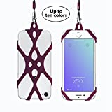 ROCONTRIP Universal Lanyard Cell Phone Neck Strap Case Cover Holder Cinghia da Polso con Slot per schede ID per iPhone 6 6S 7 Plus 8 Samsung Galaxy S7 Huawei Xiaomi (Borgogna)