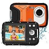 BYbrutek Kinder Digitalkamera, 21MP FHD 1080P, 5 Meter wasserdichte Kinder-Unterwasserkamera mit 2,8-Zoll-LCD, 8-facher Digitalzoom Kinder Actionkamera mit wiederaufladbarem 1050-mAH-Akku (Orange)