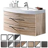 Waschtisch Belum Sonoma-Eiche (Waschbecken mit Waschbeckenunterschrank) Breite ca. 100 cm, für Gäste-WC, Form recht-eckig, hängend, Front leicht geschwungen, 2 Schubladen breit, hochglanz