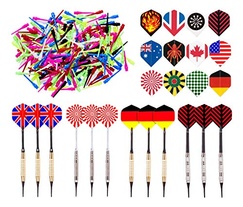 Kings Dart Soft Dartpfeile Set | 12 Turnier Dartpfeile 16 g | 36 Full Dart Flights | 500 Longlife Dartspitzen | L: 15 cm