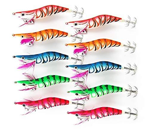 Colori assortiti artificiali esche da pesca calamaro, polipo, seppia, gambero, confezionate in legno, con amo Esche da calamaro Kit (Size 2.5#-10pcs)