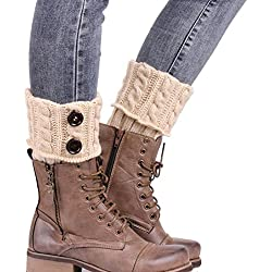 Fulltime® 2016 1 Paire Knitting Socks Jambières Boot Cover Gardez chaussettes chaudes (Beige)