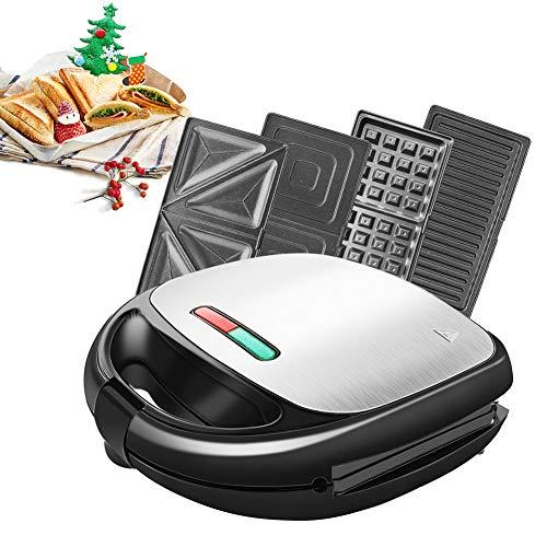 Tostiera 850W 4 in1 Waffles Piastra in Acciaio Inossidabile Ultracompact Sandwich/Panini Maker 4...