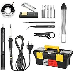 Kit de soldador , Meterk 60W 220-240V 14 en 1 Soldador de Estaño de Temperatura Ajustable,Soldador con on/off