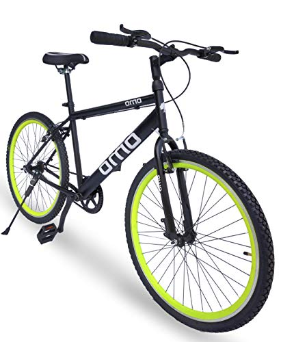Omobikes Model-1.0 Lightweight |13kg| Fast Light Weight Hybrid Cycle with Alloy Rims, Anti Rust Frame Green Rims
