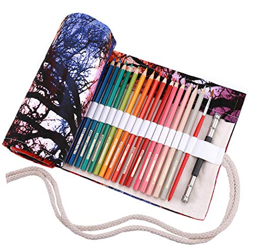 amoyie Sacchetto della matita tela rotolo astuccio per 72 matite colorate (no inclusa matite) -...