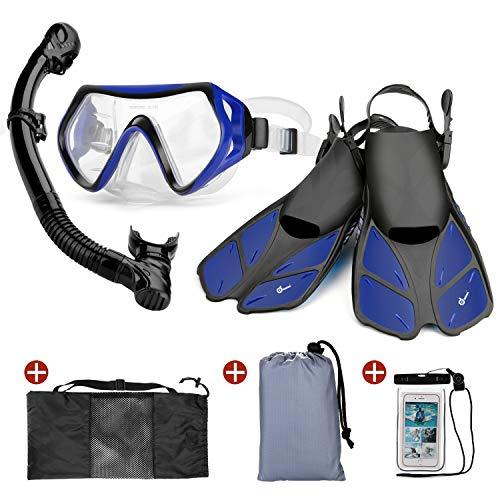 Odoland 6-in-1 Set di Snorkeling con Maschera Subacquea, Dry Top Snorkel, Pinne, Borsa per Rete, Custodia Impermeabile e Coperta da Spiaggia - Ottimo Equipaggiamento per Immersioni per Adulti