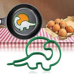 Footprintse Creativo dinosaurio tortilla de silicona moldeador huevo frito sartén molde para cocinar desayuno esencial herramienta de color: verde