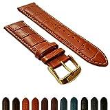 20mm marrone chiaro e bianco in vera pelle finto coccodrillo orologio da polso uomo coccodrillo imbottita fibbia in oro
