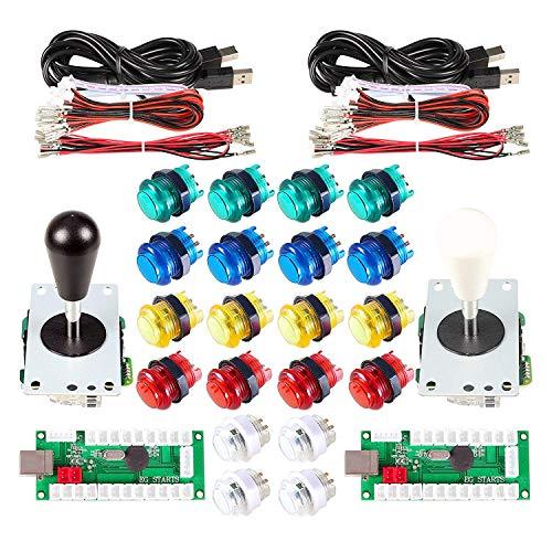 EG STARTS 2 Giocatori LED Arcade Parti Fai da Te 2X USB Encoder + 2X Ellipse Stile Ovale Joystick + 20x LED Arcade Pulsanti per PC MAME Raspberry Pi Sistema Windows (Kit Colore Misto)