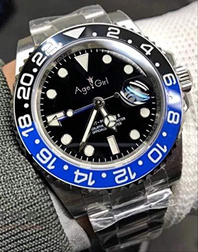 KLMWDSB Neue Männer automatische mechanische Uhr rot schwarz blau Keramik Lünette GMT Master II Edelstahl Saphir Leuchtendschwarz blau