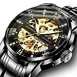 Herren Uhren Automatikuhr Mechanische Skelett Glasboden Luxus Römische Zahlen Diamant Zifferblatt Wasserdicht Schwarz Männer Armbanduhr mit Edelstahl Armband