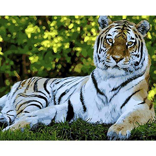 AZYVv Puzzle in Legno Fai da Te Jigsaw Puzzle 1000 Pezzi Tigre Bianca Foresta Re Animali Moderni...
