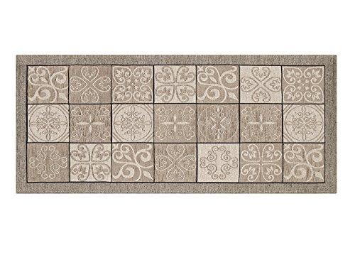 BIANCHERIAWEB Tappeto con Retro Antiscivolo da Cucina Disegno Maiolica By Suardi 55x115 Tortora