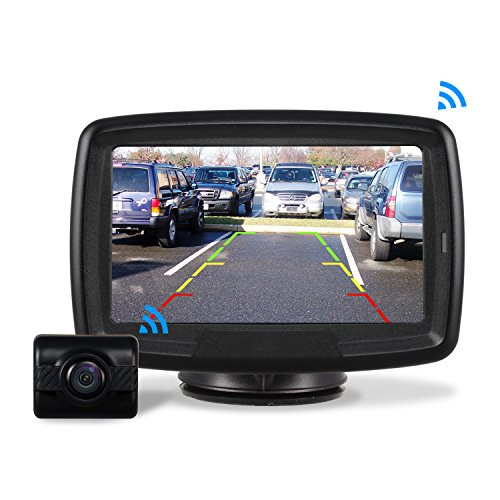 "AUTO-VOX Rückfahrkamera Drahtlos Set mit 4.3\"" Zoll/11 cm LCD Monitor, Wireless Einparkhilfe 12V-24V mit IP68 wasserdichte Digital Rückfahrkamera mit Gute Nachtsicht (TD2)"