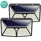 Solarleuchte für Außen,[2500mAh Neueste auf dem Markt] Kilponen 180 LED Solarlampen Außen mit Bewegungsmelder Superhelle Solarlicht 270°Solar Beleuchtung Wasserdichte 3 Modi für Garten[2 Stück]
