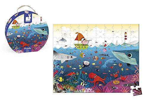 Janod - Puzzle 100 Pezzi in Valigetta, Mondo Sottomarino, J02947