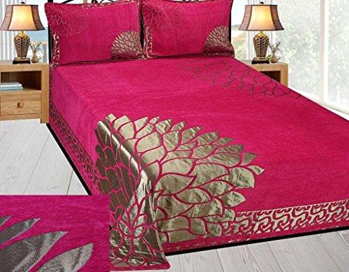 bedsheet(Premium Chenille 1 Double Bedsheet With 2 Pillow Cover, size -Bedsheet- 230x250 cms, pillow -45x70 cms)