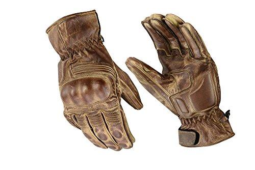 Motorrad Sport Racing Kevlar gewachst Leder Handschuhe Wachs Braun 1