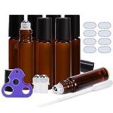 Roll on Bottles 10ml Bottiglie vuote in vetro color ambra 8 pezzi ULG con sfere in acciaio inox 2 sfere extra 8 etichette impermeabili da 1 parte 1 apriscatole e 3ml contagocce per oli essenziali