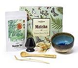 Grüner Tee Uji Matcha Pulver Set - 50 g Vireo zeremoniellen Grade Tee Kit mit Bambus Anwendungsbereich, Löffel, Schneebesen mit Halter, Matcha Servierschüssel Chawan (Japanese Summer 50g set 4) ...