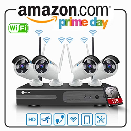 Anni Kit Videosorveglianza Wifi NVR 1080P 4CH Wireless Security Camera System HD NVR Kit Wifi Sistemi di sorveglianza,(4) 2.0MP IP wireless Outdoor Bullet Camera,65ft Visione notturna,1TB HDD