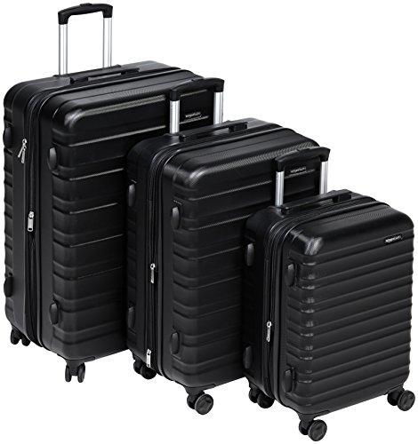 AmazonBasics Set of 3 (55 cm + 68 cm + 78 cm) Black Hardsided Trolley