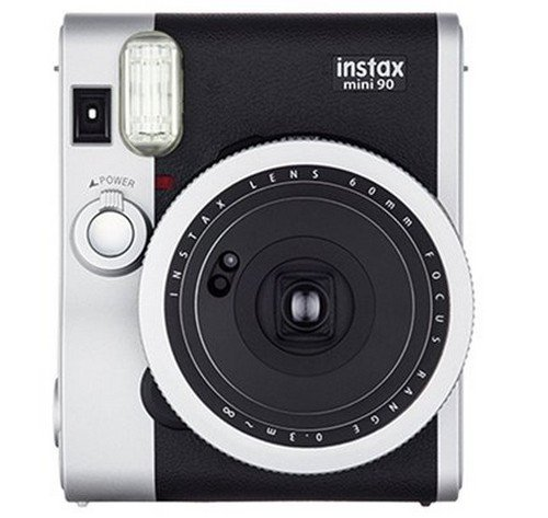 Fujifilm Instax Mini 90 Neo Classic - Cámara analógica instantánea (60 mm, f/12.7, 8x, pantalla LCD, exposición doble, macro, temporizador automático, flash), color negro y plata