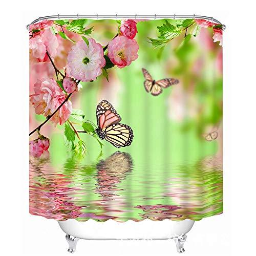 Mariposa Rosa Flor Impresa Cortina de Ducha Impermeable, Anchura 180cmx Altura 200cm